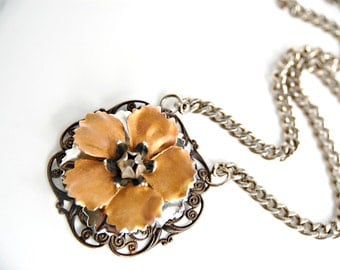 Assemblage Necklace Filigree Necklace Mixed Metal Necklace Repurposed Necklace Copper & Silver Flower Necklace