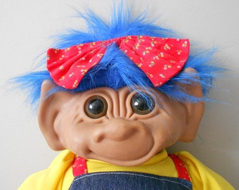 "18"" rare large vintage collectible uneeda wishnik girl troll doll / blue hair / girl luck / rare"