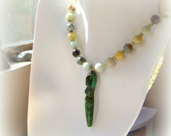 Green Goddess Beaded Stone Necklace // Nature Inspired Pendant Necklace // Gemstone Amazonite and Green Garnet Bead Necklace - BJ0044