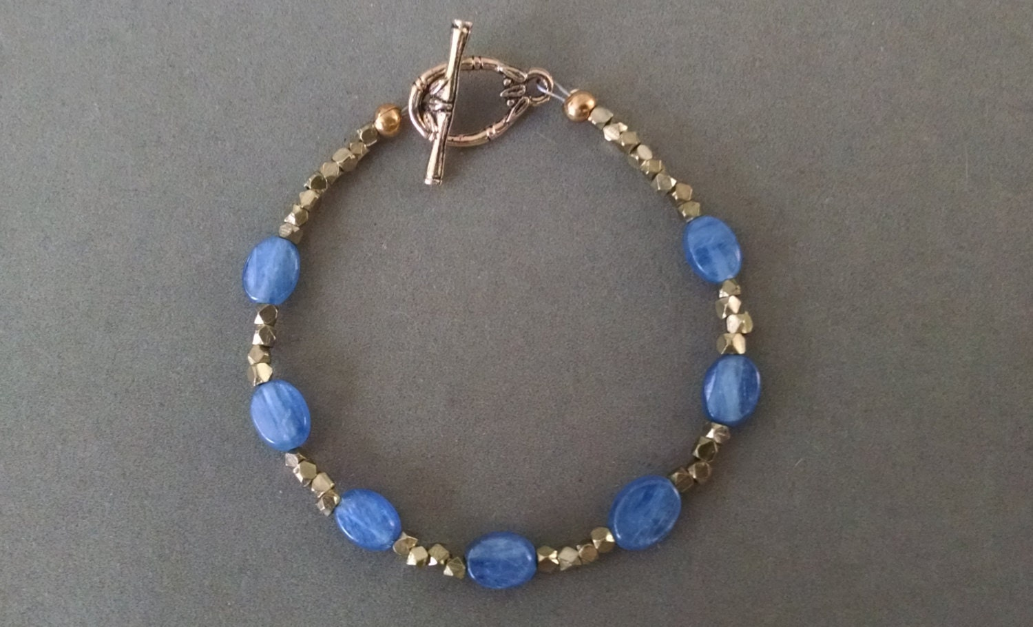 Kyanite Brass Bracelet Top Quality Blue By Powerstonejewelry1