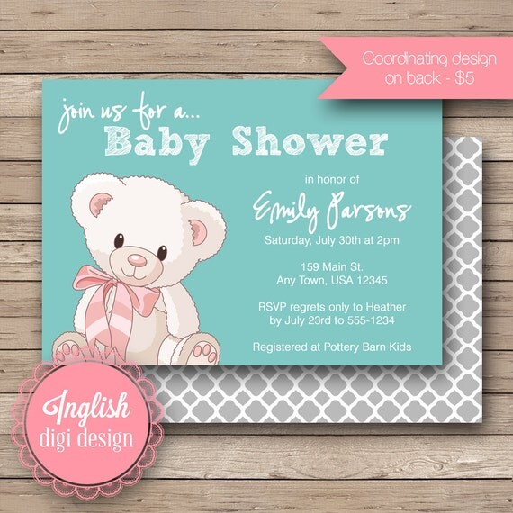 Teddy Bear Baby Shower Invitation, Teddy Bear Baby Shower Invite, Printable Baby Shower Invitation - Cuddly Teddy Bear in Aqua, Grey