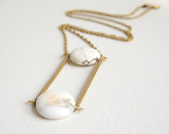 Nayana - vintage brass connectors and white marble Howlite stone geometric ladder necklace