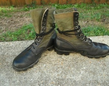 Vietnam Era Men's Black Leather Combat Boots Military Boots Jungle Boots Spike Protected Mens Size 9 R Shoes Boots