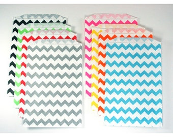 Chevron Favor Bags 20 Favor Bags, Aqua, black, grey, yellow, pink, orange, lime, red, hot pink Zig Zag Bags Wedding favors baby shower favor