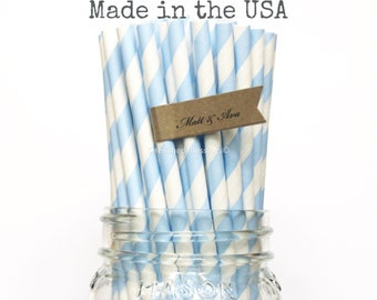 Light Blue Paper Straws, 100 Light Baby Blue Straws, Baby Shower, Wedding Table Setting Paper Goods, Made in USA, Princess Party Supplies
