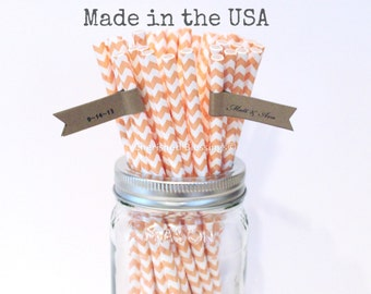 50 Peach Paper Straws, Peach Straws, Made in USA Vintage Wedding Rustic Baby Shower Princess Party Drinking Straws, Cake Pop Sticks Straws