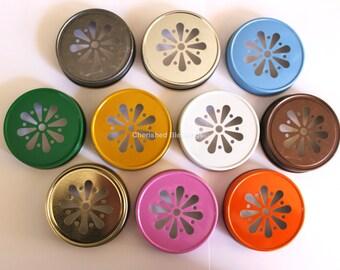 Mason Jar Daisy Lids, Mason Jar Lids, Daisy Lids, Colored Mason Jar Lids, Weddings Baby Shower Party Supplies, Table Setting USA