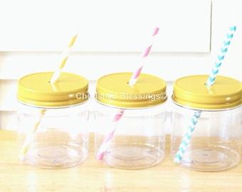 Plastic Mason Jars, 10 Mason Jar Straw Lids, Straw Lids With Holes Kids Size Party Cups, 8oz Mason Jars, Rustic Favors, Wedding, Birthday
