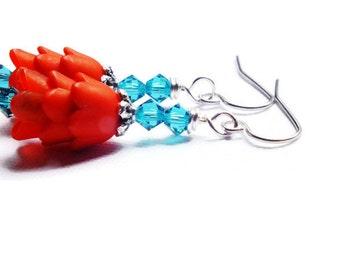 Red Tulip Earrings, Teal Swarovski Earrings, Surgical Steel Earrings, Spring Tulip Earrings, Zircon & Red Earrings
