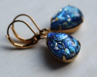 Peacock Blue Opal Earrings ... Vintage Glass Teardrop Earrings