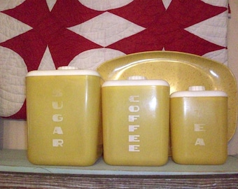 Vintage Yellow Lustroware Canisters Set of 3 Great Kitchen Storage or Display