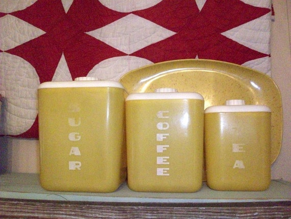 yellow kitchen storage jars vintage yellow lustroware canisters set of 3 great kitchen 1694
