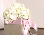 Flower Girl Basket. Fabric Covered. Custom Order. Shown: Warm Natural Linen and Pale Pink.