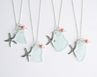 Genuine Sea Glass Necklace - Seafoam Green Seaglass, Silver Starfish Charms, Coral Swarovski Elements Pearls