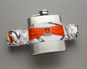 White Camouflage FLASK GARTER - Snow Camo & Orange - Garter with Flask for Bride, Bridesmaids, Maid of Honor - Bridesmaids Gift