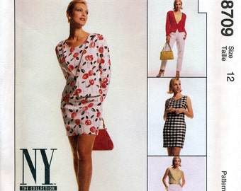 McCall's 8709 NY Collection Misses' Lined Jacket, Lined Dress, Top and Pants Sewing Pattern - Uncut - Size 12 - Bust 34