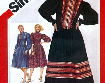 Simplicity 5348 Vintage 80s Misses' Prairie Dress Sewing Pattern - Uncut - Size 10 - Bust 32.5