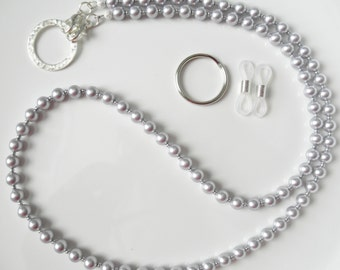 Lavender Purple Swarovski Pearl Convertible Eyeglass Chain Lanyard - Also Avail in Dk Purple, Glasses Chain, Pearl Lanyard, ID Badge Lanyard