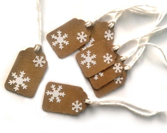 "20 Kraft Snowflake Christmas, Holiday Gift Tags 1  1/2"" x 15/16"" Made Using All Recycled and Repurposed Materials"