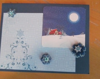 Winter and/or Christmas Card -- Blue, snowflakes, home sweet home