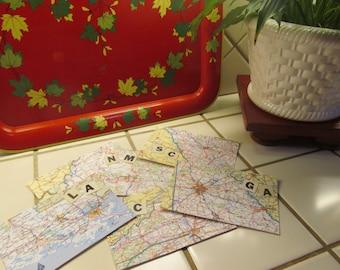 Road Atlas Post Card; Canada, Ontario, Sudbury, North Bay, Huntsville, Parry Sound, Manitoulin Island