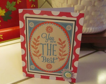 You Are the Best -- Thank you card, red, white, polka dots