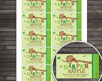 Monkey Baby Shower Diaper Raffle Tickets Printable - Boy Baby Shower Diaper Raffle Cards - Instant Download - Insert Card - Green and Brown