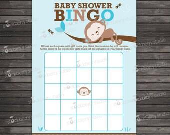 Boy Monkey Baby Shower Bingo Game Printable - Instant Download - Boy Baby Shower Games - Brown Blue Baby Shower Bingo Cards - Activities