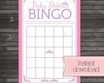 Princess Baby Shower Bingo Cards - Pink Baby Shower Bingo Printable - Instant Download - Royal Baby Shower Game - Girl Baby Shower Games