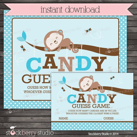 Candy Baby Shower Game: Monkey Baby Shower Candy Guessing Game Boy Baby Shower Games