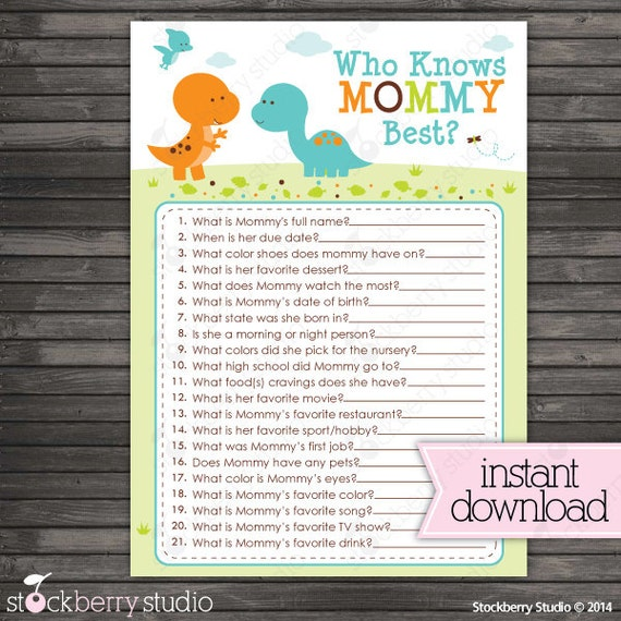 Dinosaur Baby Shower Who Knows Mommy's Best Printable Game