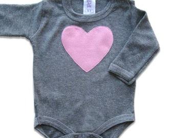 Pink Heart Baby Girl Onesie, Valentine's Day Onesie, Grey Bodysuit