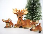 Vintage Ceramic Deer Family Chained Figurines Reindeer Woodland Christmas