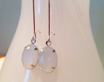 Alabaster White Silver Drop Earrings