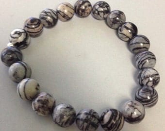 Spider Web Jasper 10mm Round Bead Stretch Bracelet With Sterling Silver Accent