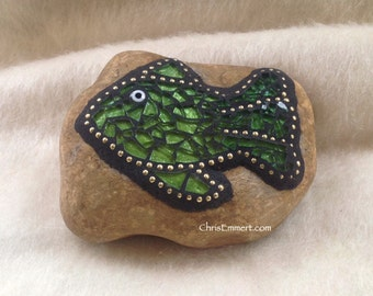 GreenTempered Glass Fish (2)- Mosaic Paperweight / Garden Stone