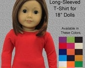 "Long Sleeved T-Shirt for American Girl/18"" Dolls (Available in Many Colors)"