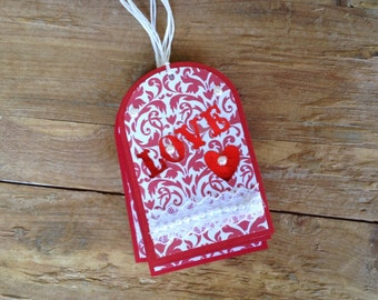 10% Discount/Gift Tags, Valentine's Day,  Set of 5, Holiday Tags, Hearts, Red, White, Hang Tags