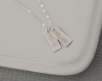 1 2 3 4 5 6 7 8 9 SILVER Personalized Initial Tags Necklace, Personalized Jewelry, Rectangle Tag Charms, Mothers Day Necklace, Tiny Bar