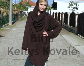 dark chocolate...Hand Knit sweater Women / Outerwear/Coats    Sizes  S/M/L/XL/XXL