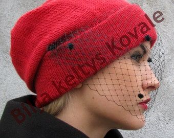 Handmade Veil Beanie Hat - Red