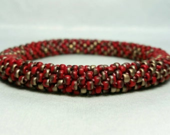 Red and Bronze Marbled Seed Bead Crochet Bangle - Ready to Ship - Last One!