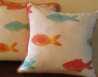 """Coral,  teal, yellow 22"""" square pillow cover with piping"""