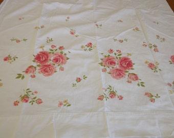 Pink Rosebud Sprigged White Vintage Full Flat Sheet