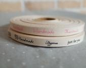 "5 YDs x 1cm(app.3/8"") Cotton Twill HANDMADE Label Tape Ribbon"