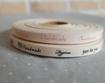 "2 YDs x 1cm(app.3/8"") Cotton Twill HANDMADE Label Tape Ribbon"