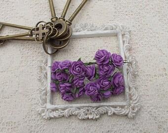 Mulberry Mini Paper Roses, Wedding, Scrapbooking, Mixed media, Purple