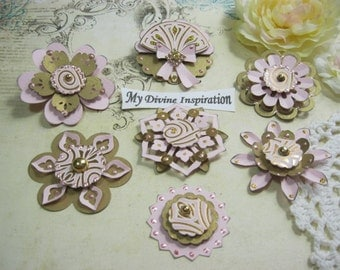 Solary's Collection Handmade Paper Embellishments and Paper Flowers for Scrapbook Layouts Cards Mini Albums and Paper Crafts