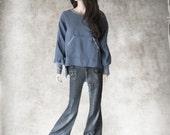 Blue blouse women/Kangaroo pocket top/Crew neck pull over/Tunic shift tee