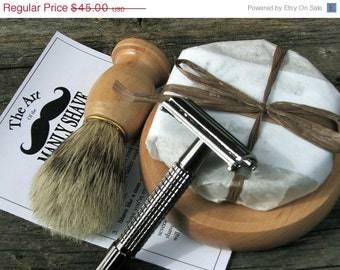4 Mens Shaving Set with Razor and Brush